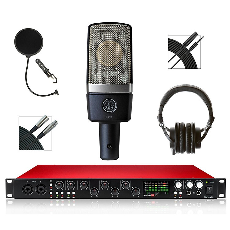 Focusrite 18i20 Recording Bundle with AKG Mic and Audio-Technica Headphones