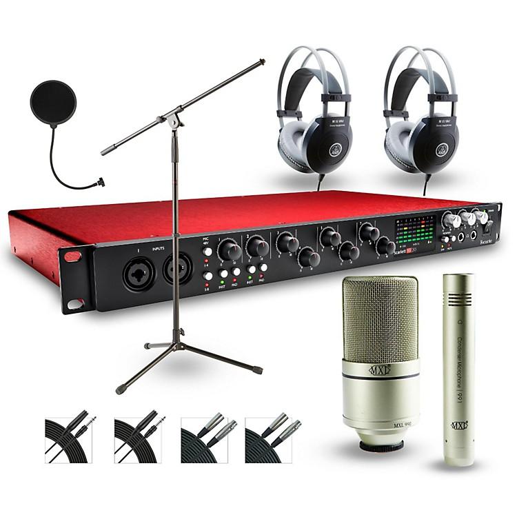 Focusrite 18i20 Recording Bundle with MXL 990-991 Mics and AKG Headphones