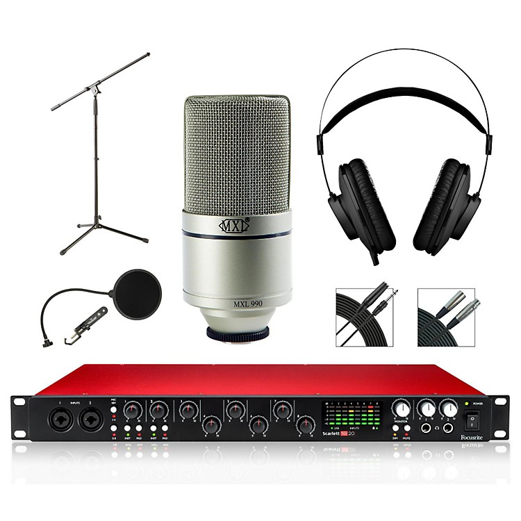 Focusrite 18i20 Recording Bundle with MXL 990 Mic and AKG Headphones