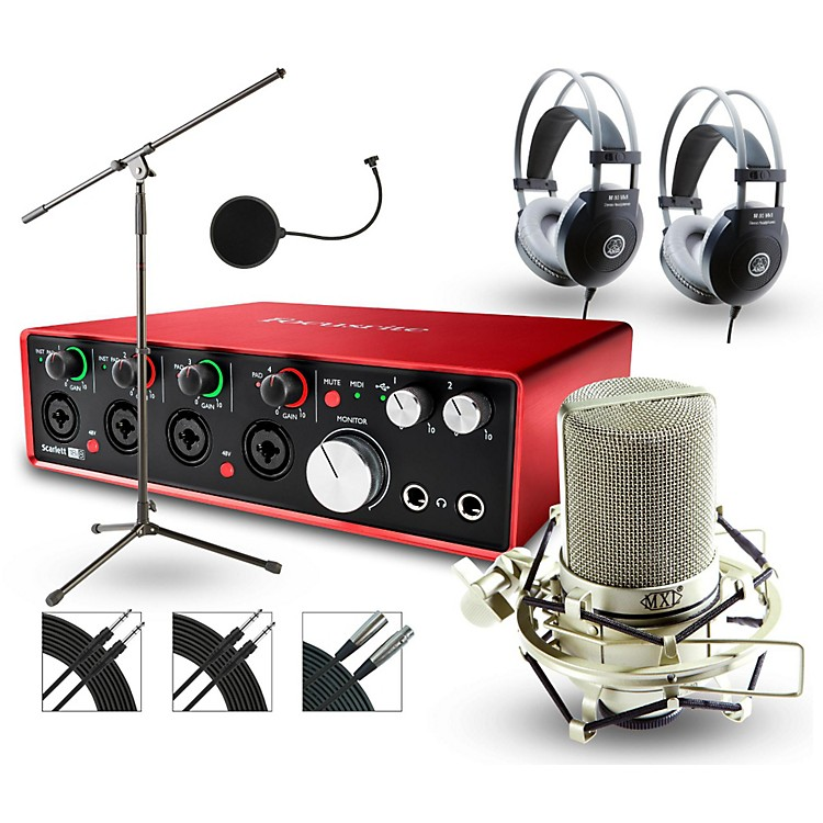 Focusrite 18i8 Recording Bundle with MXL Mic and AKG Headphones