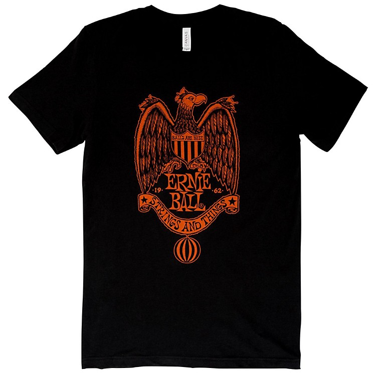 Ernie Ball 1962 Strings and Things Orange Font T-Shirt Large Black