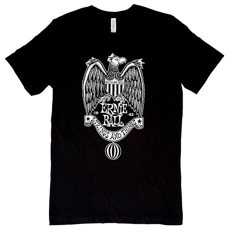 Ernie Ball Music Man1962 Strings and Things White Font T-ShirtX LargeBlack