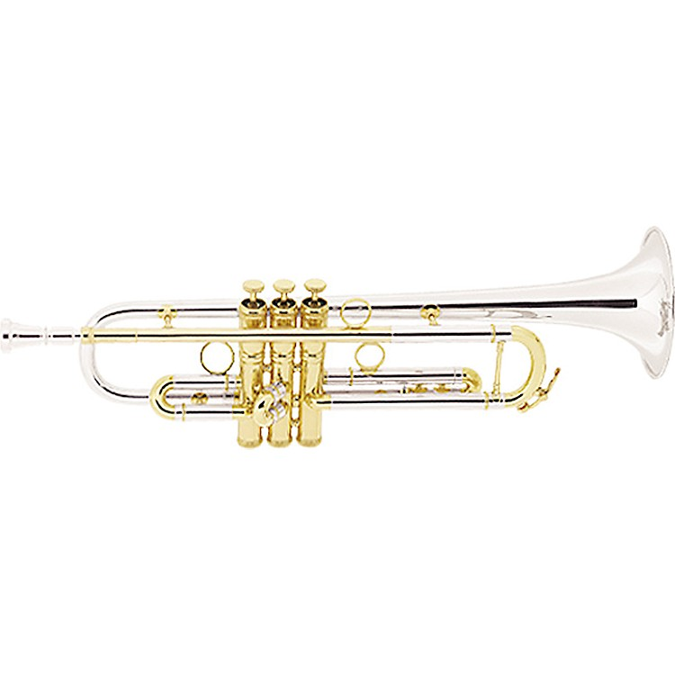 Conn 1B Vintage One Series Professional Bb Trumpet with Sterling Silver Bell 1BSSPG Silver with Sterling Silver Bell and Gold Trim