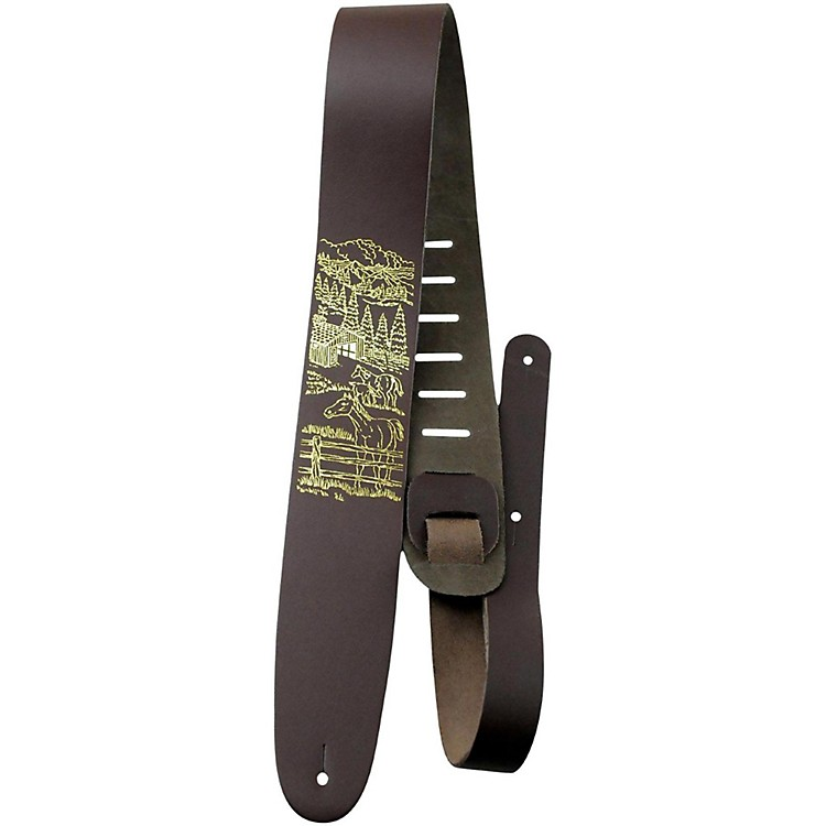 Perri's 2.5 In. Leather Guitar Strap Country Scene with Horses