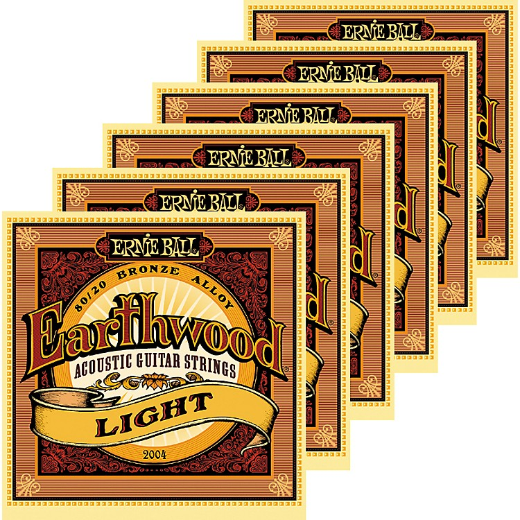 Ernie Ball 2004 Earthwood 80/20 Bronze Light Acoustic Guitar Strings 6 Pack