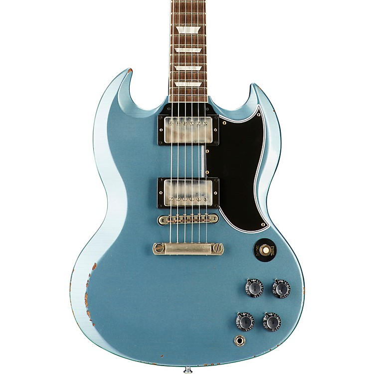 Gibson Custom2017 Limited Run SG Standard Heavy Aged Electric GuitarAntique Pelham Blue5-ply Black Pickguard
