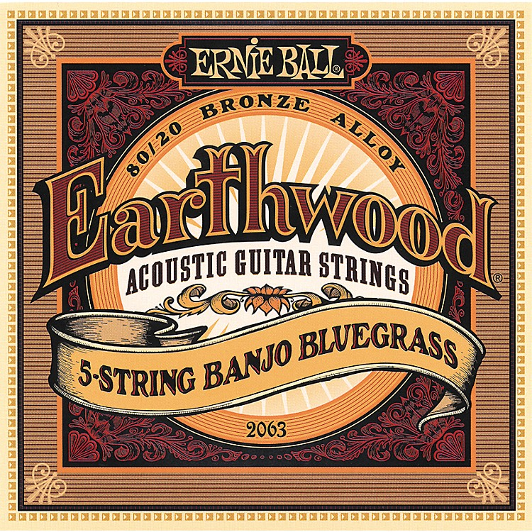 Ernie Ball 2063 Earthwood 80/20 Bronze 5-String Banjo Bluegrass Strings