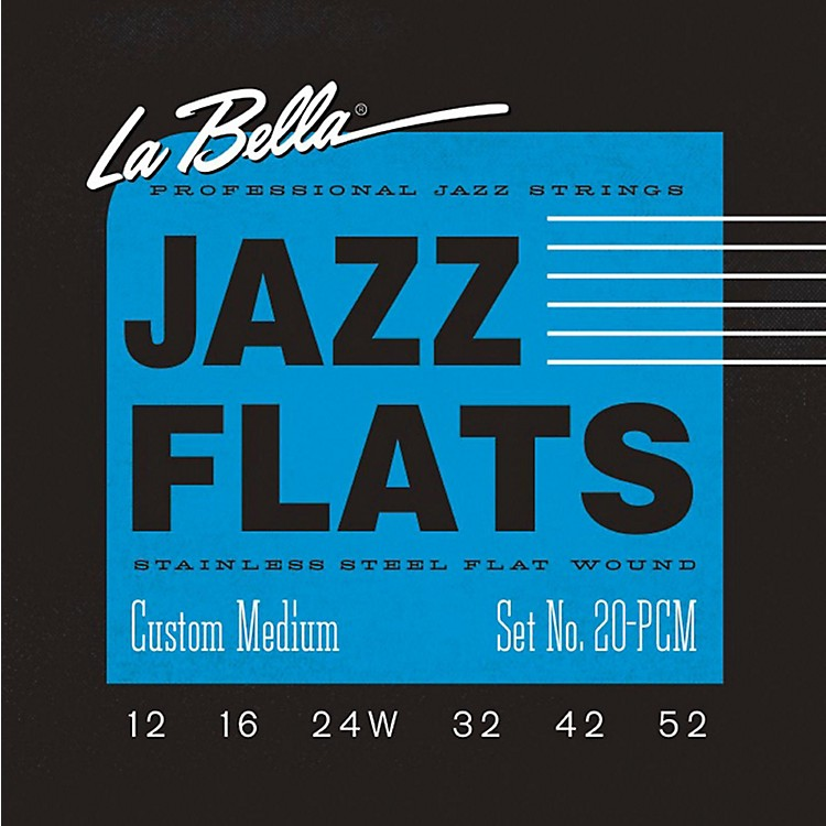 LaBella20PCM Jazz Flats Stainless Steel Flat Wound Custom-Light Electric Guitar Strings