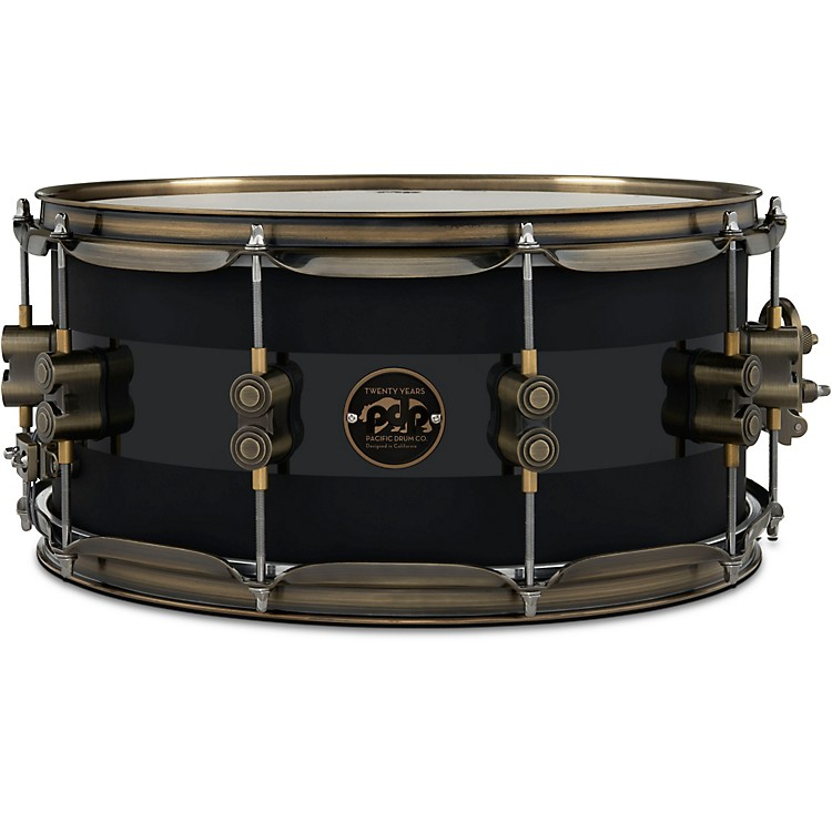 PDP by DW20th Anniversary Snare Drum, Matte/Gloss Black, Antique Bronze Hardware14 x 6.5 in.