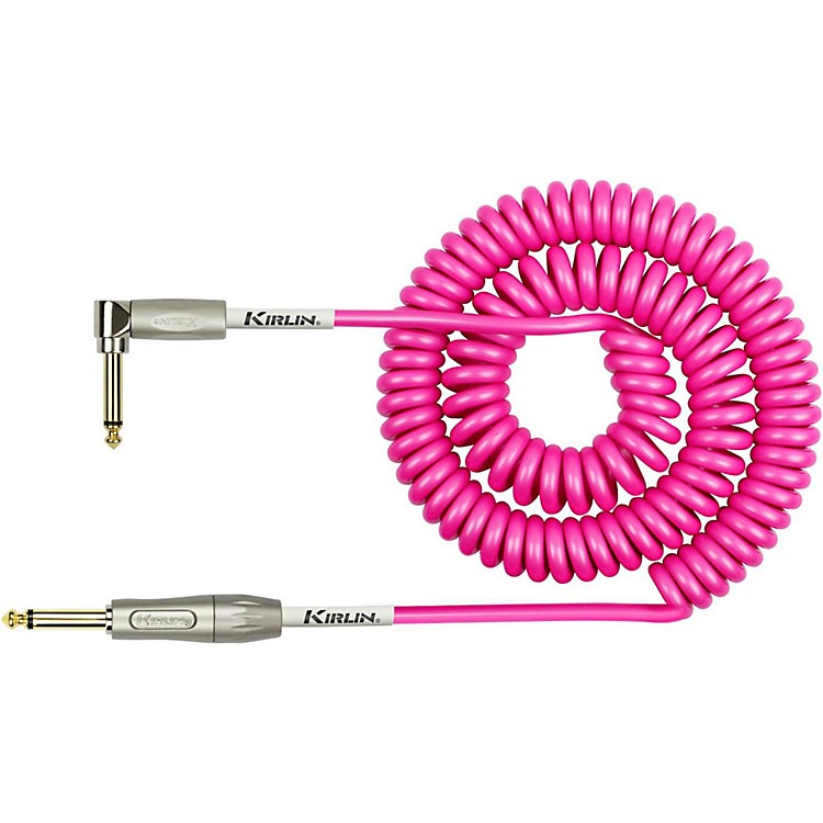 KIRLIN22AWG Premium Coil Instrument Cable - Straight to Right Angle - Hot Pink30 ft.