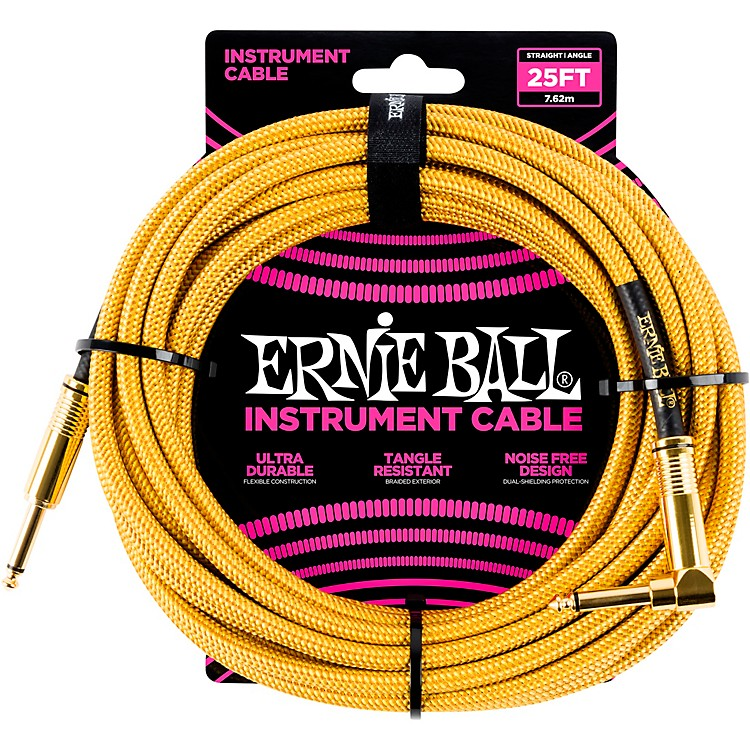 Ernie Ball25 FT Straight to Angle Instrument CableGold