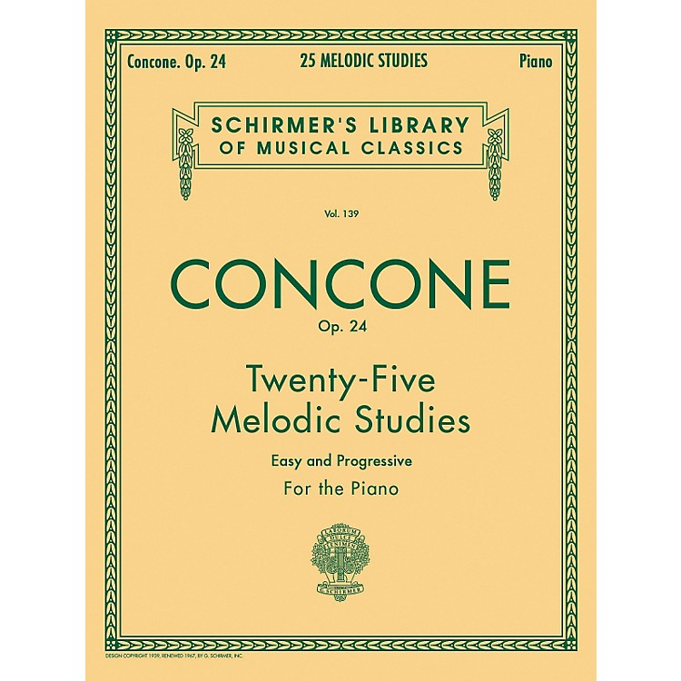 G. Schirmer25 Melodic Studies Op 24 for Piano By Concone