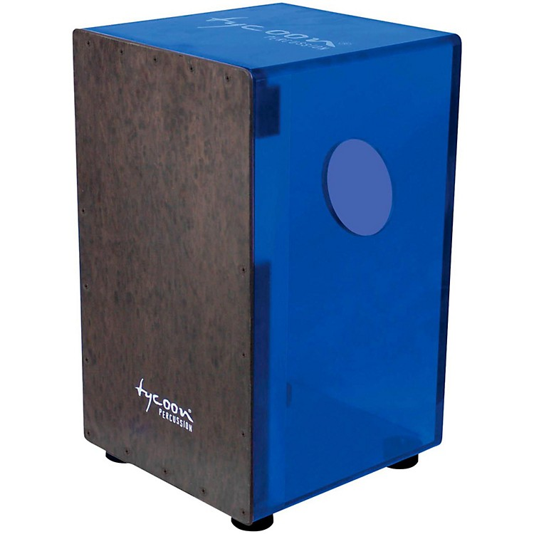 Tycoon Percussion 29 Series Acrylic Cajon Royal Blue Black Makah Burl Front Plate
