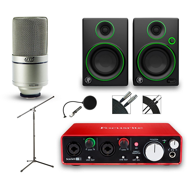 Focusrite2i2 Recording Bundle With MXL 990 And Mackie CR3 Monitors