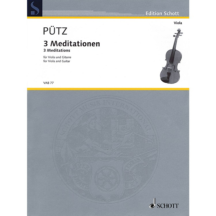 Schott 3 Meditations (Viola and Guitar Two Performance Scores) String Series Softcover Composed by Eduard Pütz