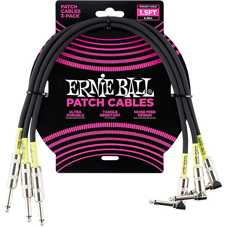 Ernie Ball 3-Pack Patch Cable 1.5 ft. White