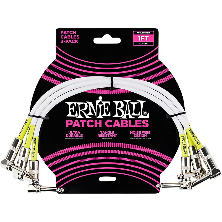 Ernie Ball 3-Pack Patch Cables 1 ft. White