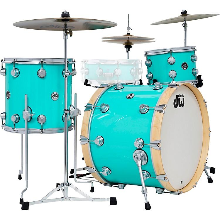 DW 3-Piece Collector's Series Santa Monica Shell Pack with Satin Chrome Hardware  Sea Foam Green