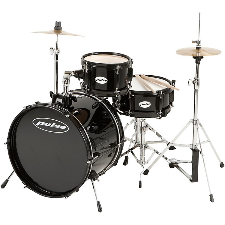Pulse 3-Piece Deluxe Junior Drum Set Black