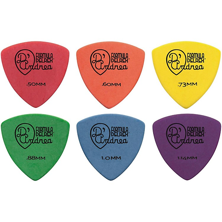 D'Andrea 346 Guitar Picks Rounded Triangle Delrex Delrin - One Dozen Orange .60 mm