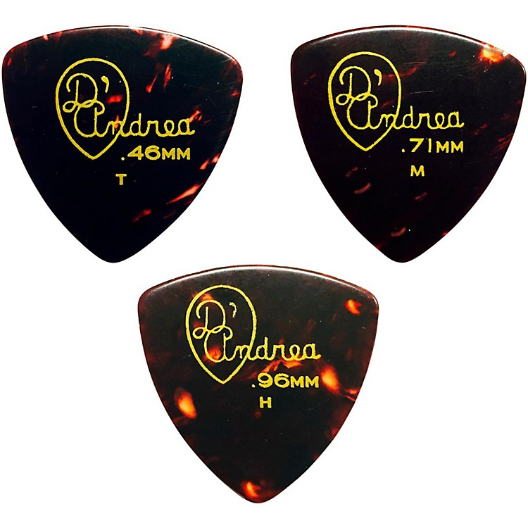 D'Andrea 346 Rounded Triangle Celluloid Guitar Picks - One Dozen Shell Medium