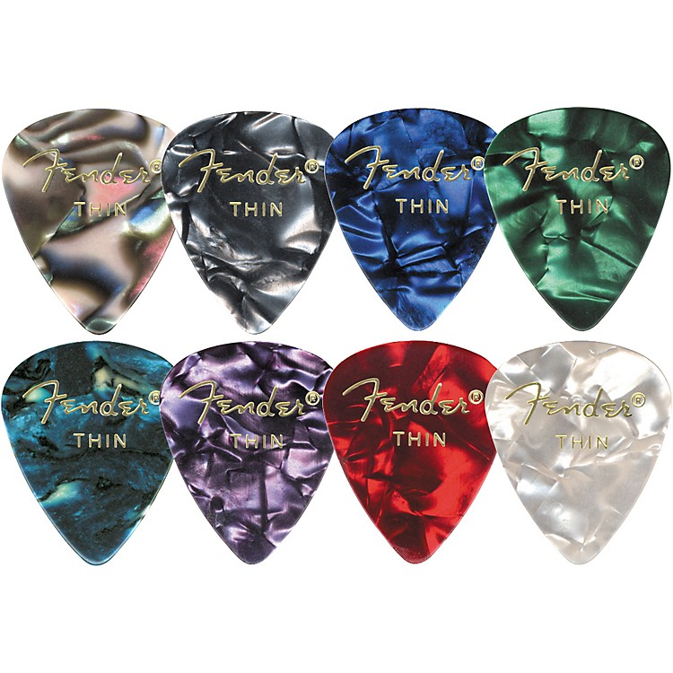 Fender 351 Premium Celluloid Guitar Picks  (12-Pack) Medium Purple Moto Thin