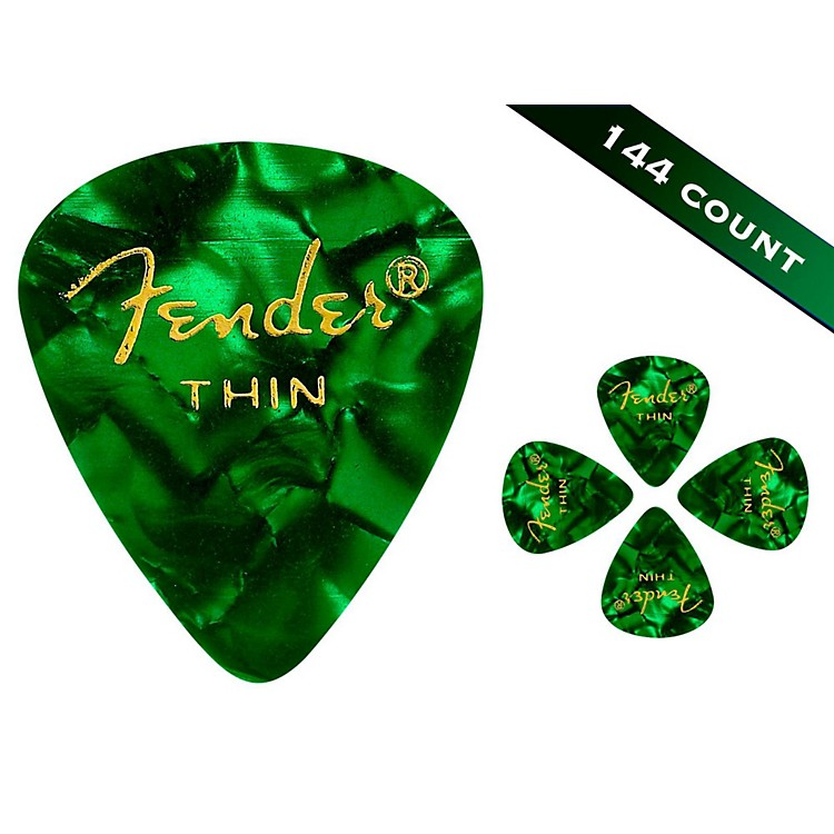 Fender 351 Premium Thin Guitar Picks - 144 Count Green Moto