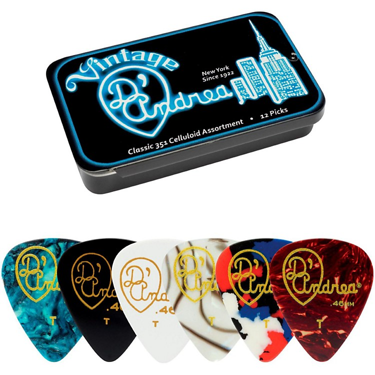 D'Andrea 351 Vintage Classic Celluloid Picks - Assorted Colors - 1 Dozen in Tin Container Heavy