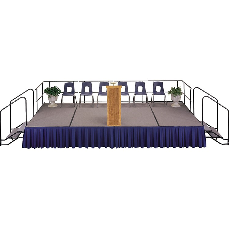 Midwest Folding Products 4' Deep X 8' Wide Single Height Portable Stage & Seated Riser 16 Inches High Pewter Gray Carpet