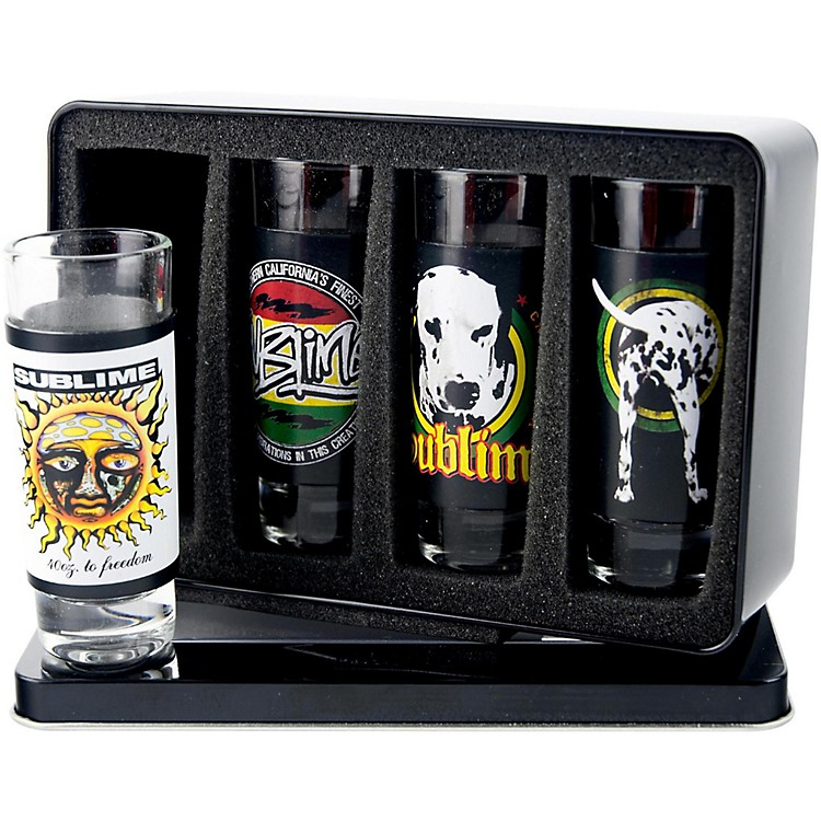 Iconic Concepts4 Piece Sublime Shot Glass Set with Full Color Printed Removeable Aluminum Sleeves in Tin