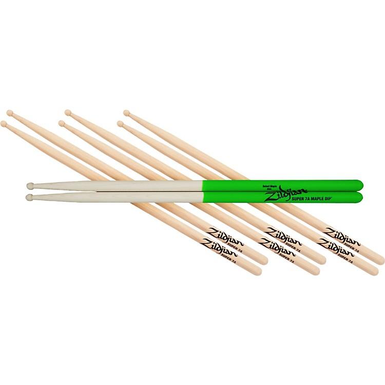 Zildjian4 for 3 Super 7AW and S7A Maple Green Dip Drumsticks