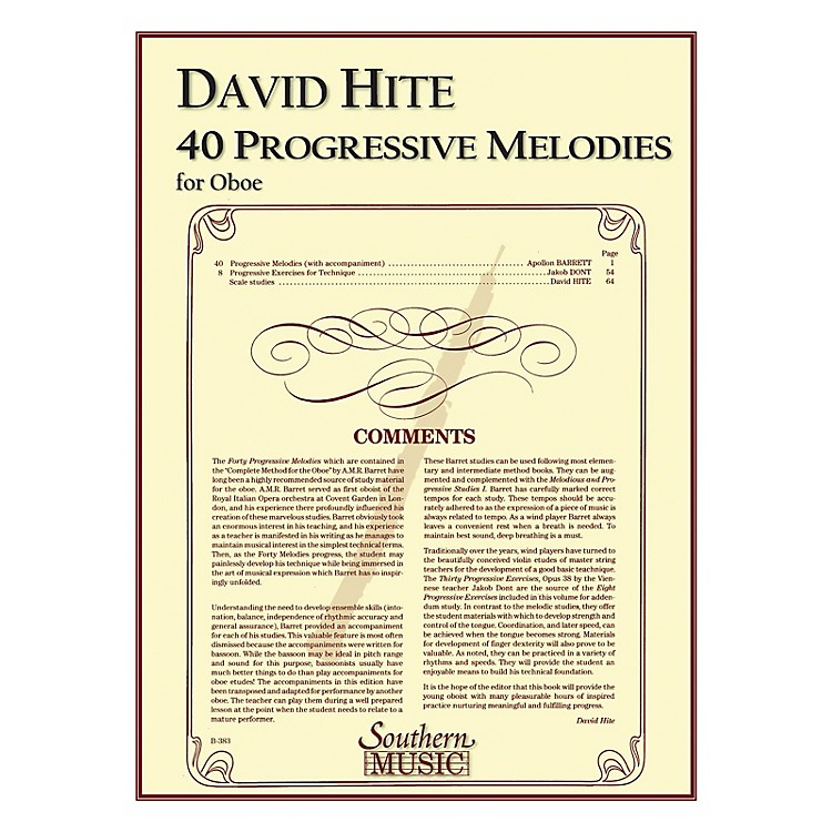 Southern40 Progressive Melodies (Oboe) Southern Music Series Arranged by David Hite