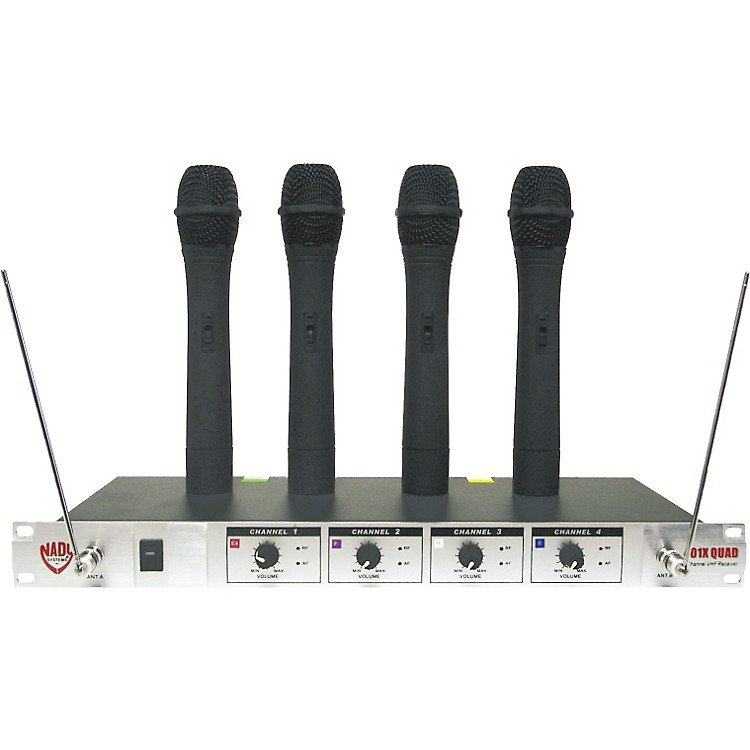 Nady 401X Quad WHT Handheld VHF Wireless Microphone System Set A 190839001870