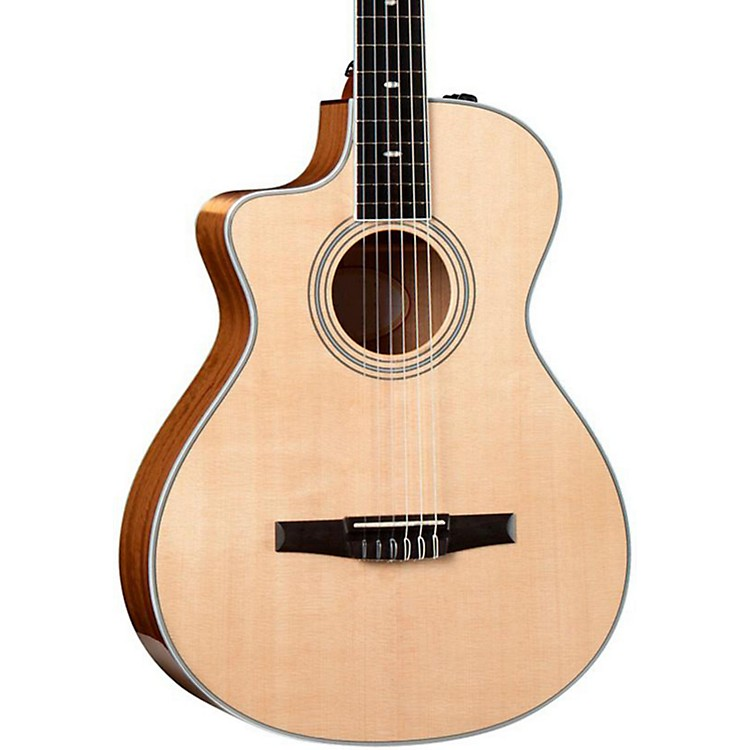 Taylor412ce-N-L Ovangkol/Spruce Nylon String Grand Concert Left-Handed Acoustic-Electric Guitar