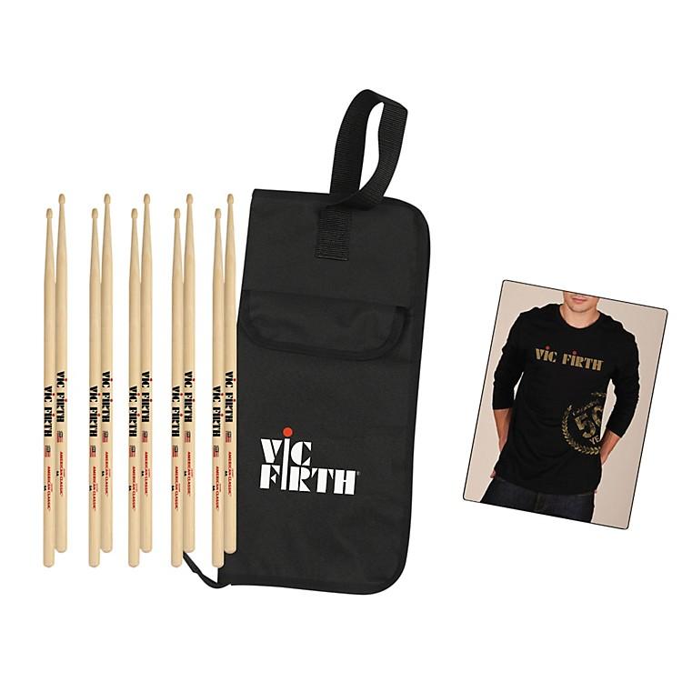 Vic Firth5-Pair 5A Sticks with Free Vic Firth 50th Logo T-shirt