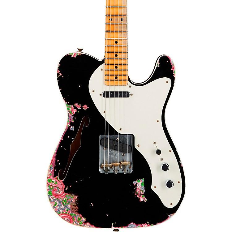 Fender Custom Shop50s Custom Thinline Telecaster Electric GuitarAged Black over Pink Paisley