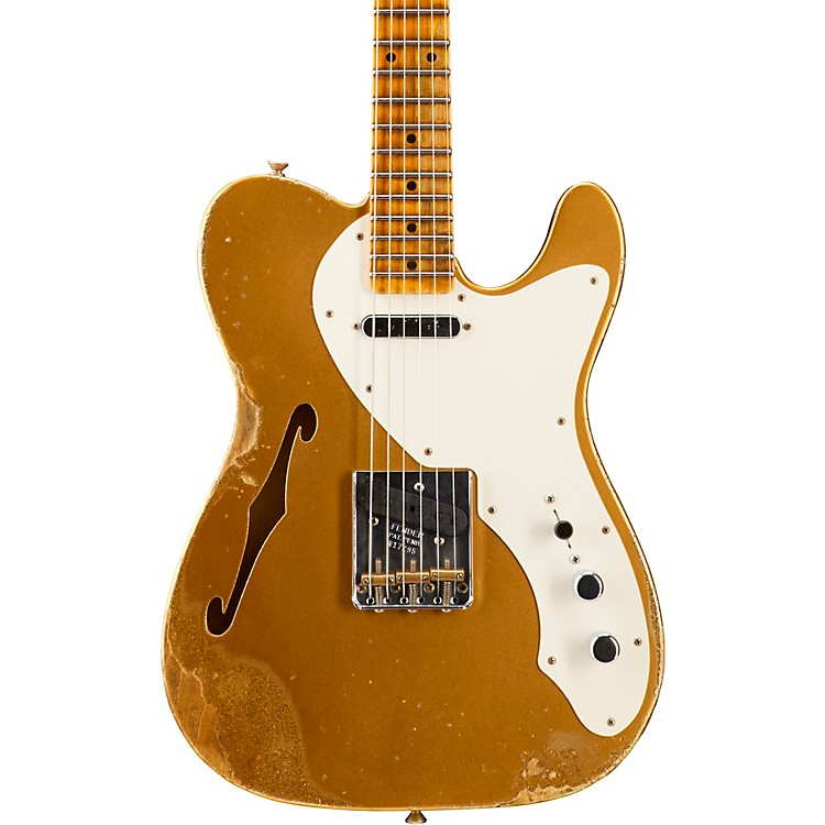 Fender Custom Shop '50s Relic Thinline Telecaster - Custom Built - Namm Limited Edition Aztec Gold over Gold Sparkle