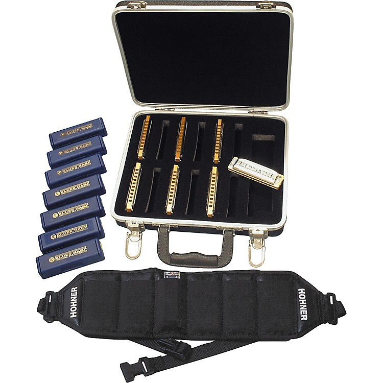 Hohner 532/20 Blues Harp Harmonica Pack with Case and Belt