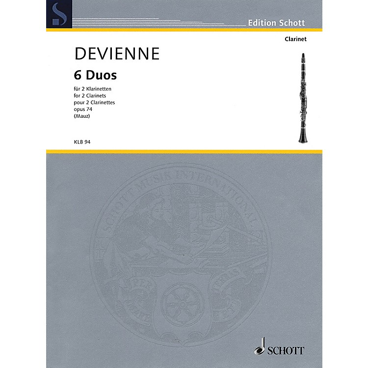 Schott 6 Duos, Op. 74 (for 2 Clarinets - Performance Score) Woodwind Ensemble Series Softcover