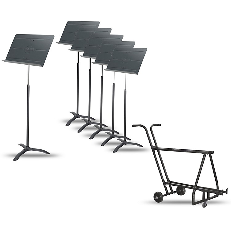 Proline6-Pack Professional Orchestral Music Stand With Manhasset Music Stand Short Storage Cart (Holds 12-13)