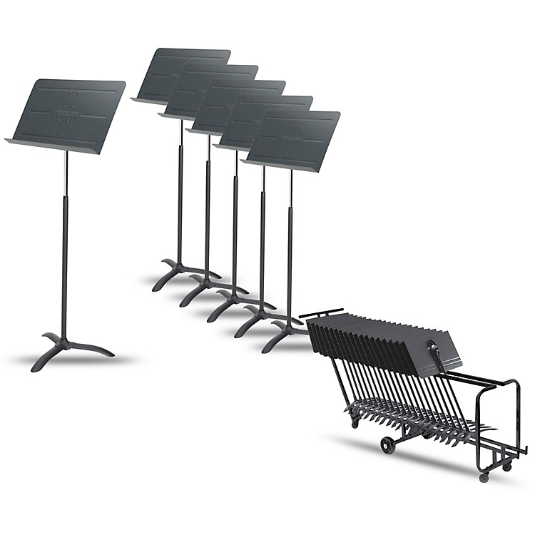 Proline6-Pack Professional Orchestral Music Stand With Manhasset Storage Cart (Holds 25)