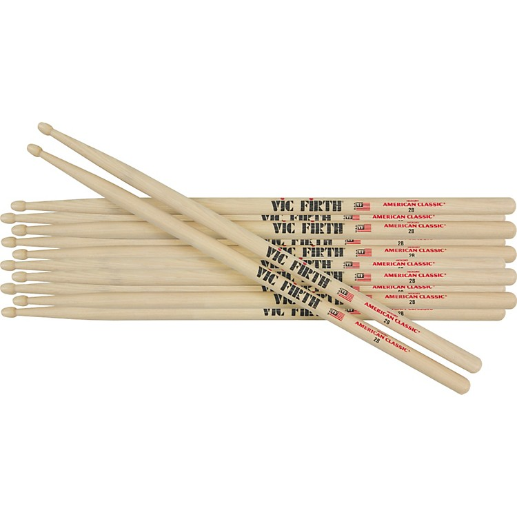 Vic Firth 6-Pair American Classic Hickory Drum Sticks Wood 2B