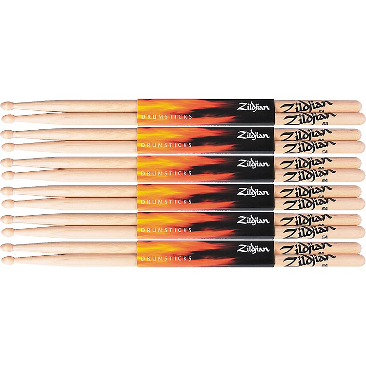 Zildjian6 Pair Natural Hickory 5A Wood Drumsticks Plus 1 Pair Free