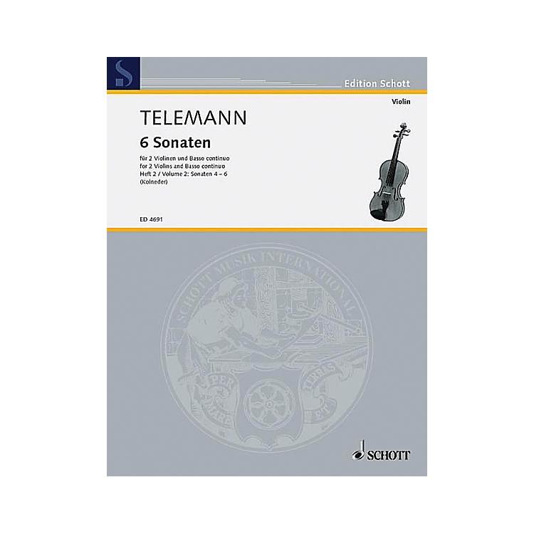 Schott6 Sonatas - Vol. 2:4-6 Schott Series Composed by Georg Philipp Telemann
