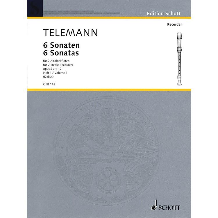 Schott6 Sonatas Op. 2, Volume 1 (1-2) Schott Series by Georg Philipp Telemann