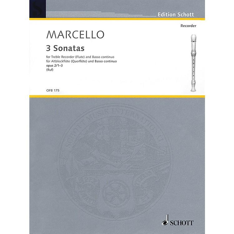 Schott6 Sonatas, Op. 2, Volume 1 (1-3) (for Treble Recorder and B.C.) Schott Series