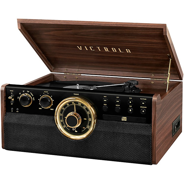 Victrola6-in-1 Wood Empire Mid Century Modern Bluetooth Record Player with 3-Speed Turntable, CD, Cassette Player and RadioEspresso