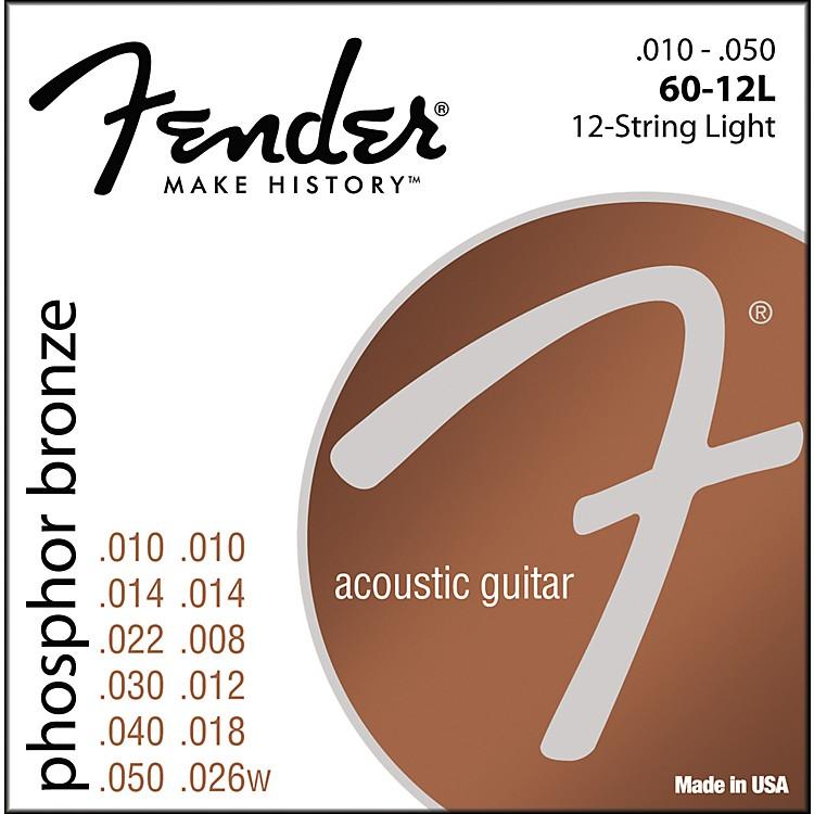 Fender60-12L Phosphor Bronze 12-String Acoustic Strings - Light