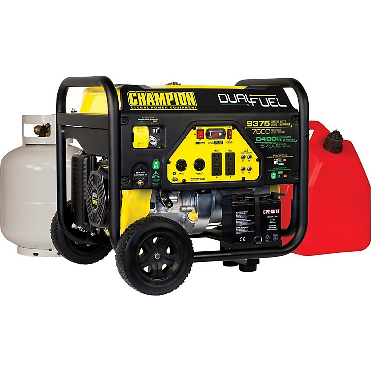 Champion Power Equipment6750/8400 Watt LPG/9375/7500 Watt Gasoline Dual Fuel Electric Start Generator