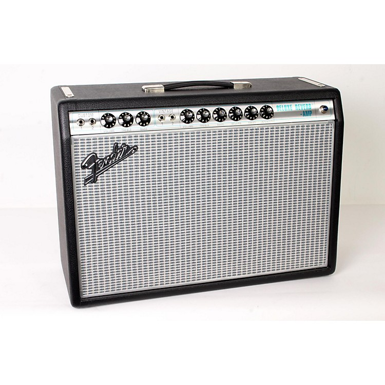 Fender '68 Custom Deluxe Reverb 22W 1x12 Tube Guitar Combo Amp with Celestion G12V-70 Speaker Black 888365902500